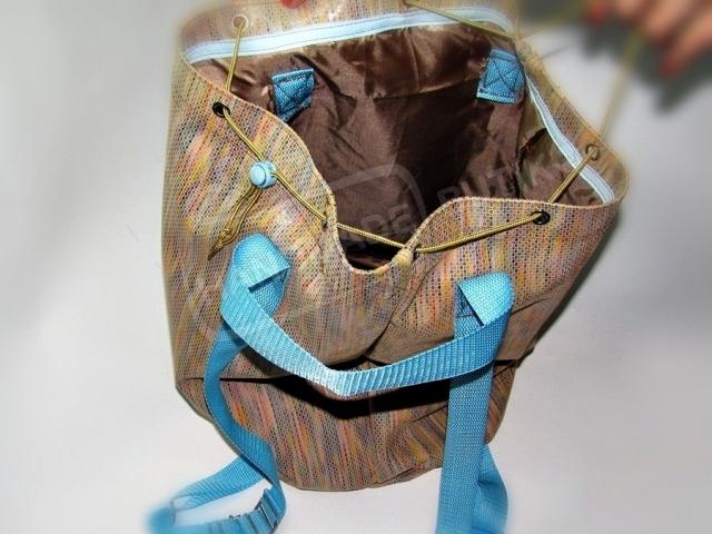 Сумка-рюкзак из кожи Радужный.