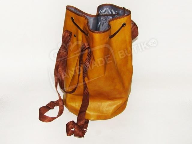 Сумка-рюкзак из кожи Горчица.
